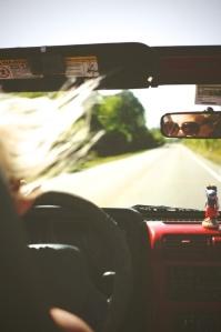 driving away